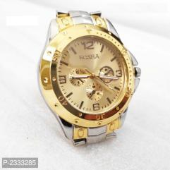 Golden Metal Watch For Men's