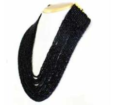 15 STRAND RICH BLACK SPINEL ROUND CUT BEADS NECKLACE